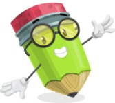 Cute Pencil Cartoon Vector Character AKA Woody the Nerdy Pencil - Waving with a Hand