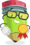 Cute Pencil Cartoon Vector Character AKA Woody the Nerdy Pencil - Winning a Prize