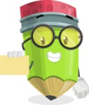 Cute Pencil Cartoon Vector Character AKA Woody the Nerdy Pencil - With a Blank Business card