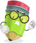 Cute Pencil Cartoon Vector Character AKA Woody the Nerdy Pencil - With Angry Face