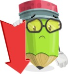 Cute Pencil Cartoon Vector Character AKA Woody the Nerdy Pencil - With Arrow going Down