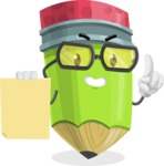 Cute Pencil Cartoon Vector Character AKA Woody the Nerdy Pencil - With Blank Paper