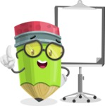 Cute Pencil Cartoon Vector Character AKA Woody the Nerdy Pencil - With Blank Presentation Board