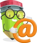 Cute Pencil Cartoon Vector Character AKA Woody the Nerdy Pencil - With Email Sign - Web