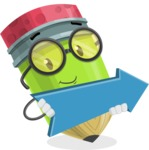 Cute Pencil Cartoon Vector Character AKA Woody the Nerdy Pencil - with Forward Arrow