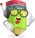Cute Pencil Cartoon Vector Character AKA Woody the Nerdy Pencil - With Headphones