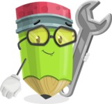Cute Pencil Cartoon Vector Character AKA Woody the Nerdy Pencil - with Repairing tool - wrench