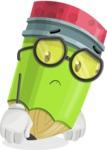 Cute Pencil Cartoon Vector Character AKA Woody the Nerdy Pencil - With Sad Face