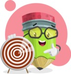 Cute Pencil Cartoon Vector Character AKA Woody the Nerdy Pencil - With Simple Shape Background Illustration
