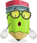 Cute Pencil Cartoon Vector Character AKA Woody the Nerdy Pencil - With Stunned Face