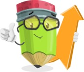 Cute Pencil Cartoon Vector Character AKA Woody the Nerdy Pencil - with Up arrow