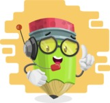 Cute Pencil Cartoon Vector Character AKA Woody the Nerdy Pencil - Working in Support Center Illustration