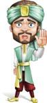 Arabian Man with Beard Cartoon Vector Character AKA Fath Victory - Good Bye