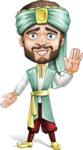 Arabian Man with Beard Cartoon Vector Character AKA Fath Victory - Hello