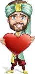 Arabian Man with Beard Cartoon Vector Character AKA Fath Victory - Love