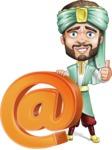 Arabian Man with Beard Cartoon Vector Character AKA Fath Victory - Web