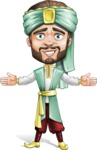 Arabian Man with Beard Cartoon Vector Character AKA Fath Victory - Happy