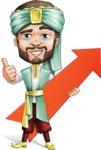 Arabian Man with Beard Cartoon Vector Character AKA Fath Victory - Arrow 1