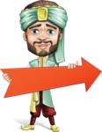 Arabian Man with Beard Cartoon Vector Character AKA Fath Victory - Arrow 2