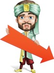 Arabian Man with Beard Cartoon Vector Character AKA Fath Victory - Arrow 3