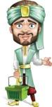 Arabian Man with Beard Cartoon Vector Character AKA Fath Victory - Basket