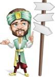 Arabian Man with Beard Cartoon Vector Character AKA Fath Victory - Crossroad