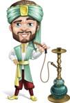 Arabian Man with Beard Cartoon Vector Character AKA Fath Victory - Hookah 1