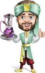 Arabian Man with Beard Cartoon Vector Character AKA Fath Victory - Hookah 2