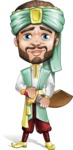 Arabian Man with Beard Cartoon Vector Character AKA Fath Victory - Sword 1
