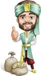 Arabian Man with Beard Cartoon Vector Character AKA Fath Victory - Treasure
