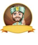 Arabian Man with Beard Cartoon Vector Character AKA Fath Victory - Shape 4