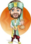 Arabian Man with Beard Cartoon Vector Character AKA Fath Victory - Shape 5