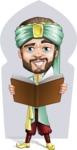 Arabian Man with Beard Cartoon Vector Character AKA Fath Victory - Shape 6