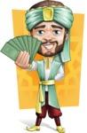 Arabian Man with Beard Cartoon Vector Character AKA Fath Victory - Shape 7