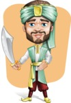 Arabian Man with Beard Cartoon Vector Character AKA Fath Victory - Shape 12