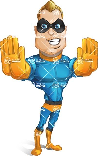 Superhero Cartoon Character AKA Commander Dynamo - Making Stop with Two Hands