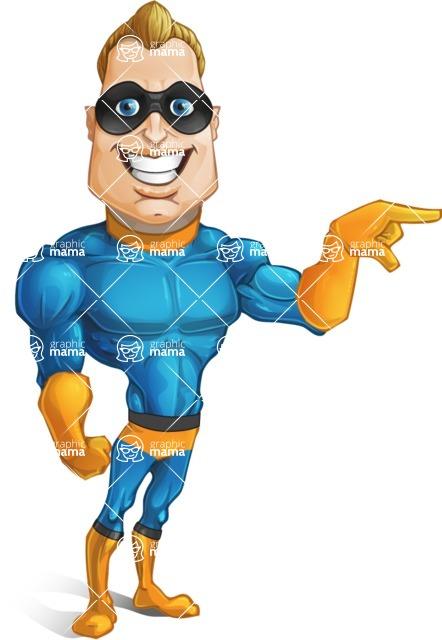 Superhero Cartoon Character AKA Commander Dynamo - Pointing with a Hand