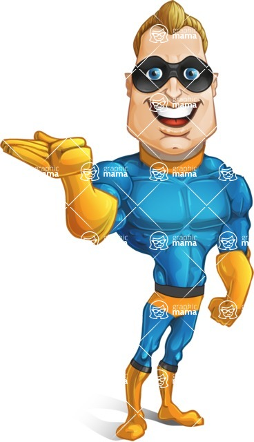 Superhero Cartoon​ Character AKA Commander Dynamo - Showing with Left Hand