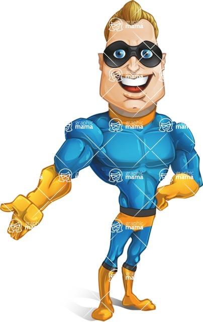 Superhero Cartoon Character AKA Commander Dynamo - Showing with a Smile