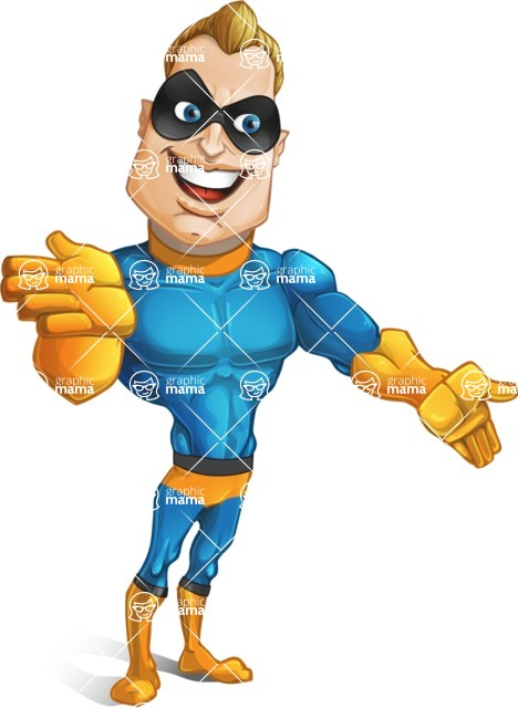 Superhero Cartoon​ Character AKA Commander Dynamo - Showing and Looking at the Same Direction