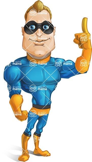 Superhero Cartoon Character AKA Commander Dynamo - Making a Point