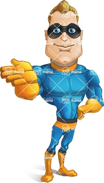 Superhero Cartoon​ Character AKA Commander Dynamo - Showing Forward
