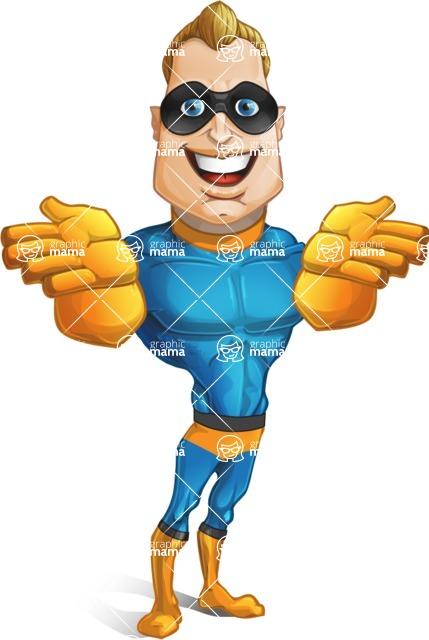 Superhero Cartoon Character AKA Commander Dynamo - Showing Frontal with Both Hands