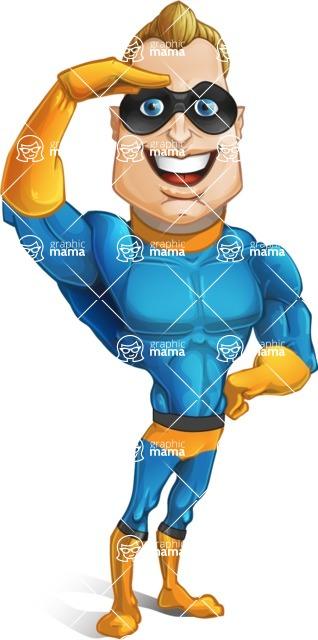 Superhero Cartoon Character AKA Commander Dynamo - Giving a Salute