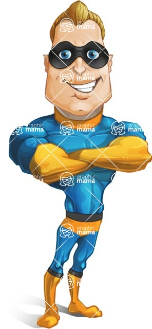 Superhero Cartoon​ Character AKA Commander Dynamo - With Crossed Hands