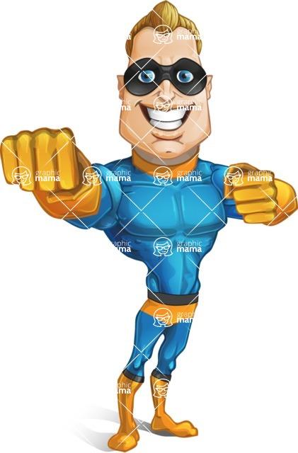 Superhero Cartoon Character AKA Commander Dynamo - Punching