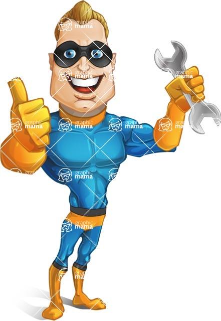 Superhero Cartoon Character AKA Commander Dynamo - With Repairing Tools - Wrench