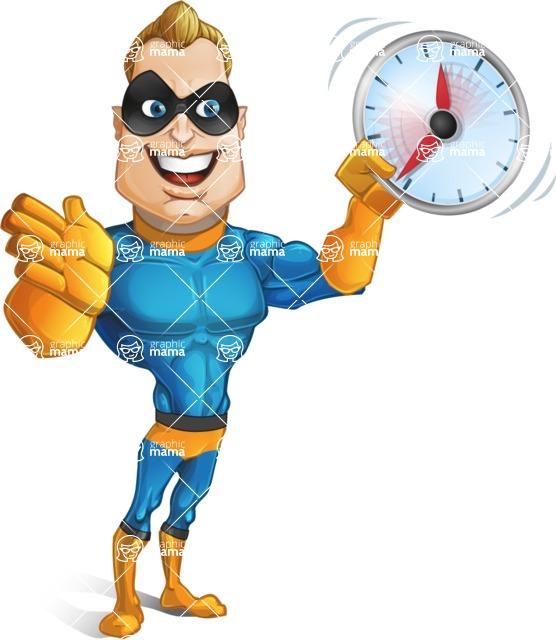 Superhero Cartoon Character AKA Commander Dynamo - Holding Clock