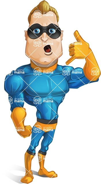 "Superhero Cartoon Character AKA Commander Dynamo - Making ""Call Me"" Gesture with Hand"