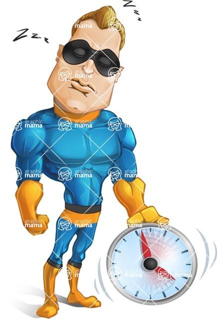 Superhero Cartoon Character AKA Commander Dynamo - Feeling Tired and Sleeping
